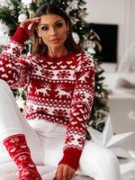 Suéteres de mujer Otoño Invierno Navidad Suéter Casual Mujeres Damas Punto de Punto Jersey Pullover Snowflake Elk Impresión y Jerseys