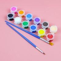 Kinderen acryl 12 kleuren set 6 eendelige kleuterschool studenten kunst schilderij graffiti diy gips pigment strip