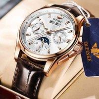 Designer Luxury Marca Relógios EUPINKE Homens Mecânica Mecânica Automática De Couro Sapphire Impermeável Esportes Moon Fase Pulso Montre Homme