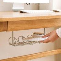 2 Stück unter dem Tisch Lagerregal Kabelmanagement TRAY-TABELLE Bottom Socket Halter Hanging Rack Home Office Wire Organizer