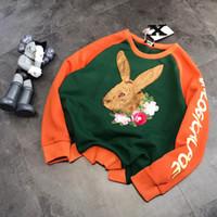 2021 Automne Casual Fashion Femmes Col O-Cou Pull en lâche Pull de peluche de lapin brodé Sport de pull en peluche dans la couleur Contraste Sweat-shirt à manches longues