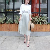 Skirts 2021 Summer Elastic High Waist Thin Simple Silky Umbrella Skirt Casual Loose Women A-line Long