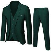 Men's Suits & Blazers Business Suit Jacket Coat Trousers Waistcoat Wedding Three Pieces Pants Vest Large Size Professional