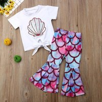 Clothing Sets Summer Toddler Kids Baby Girl 0-5Y Clothes Short Sleeve Tops T-Shirt Flared Pants Outfits Sunsuit