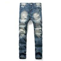Мужские джинсы повседневные моды пэчворк полые промытые обрезанные брюки джинсовые разорванные хип-хоп мужчины сексуальные старые бренды бросают большой размер