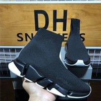 أعلى جودة متماسكة الجوارب الأحذية شبكة سرعة المدرب عالية سباق العدائين رجل مصمم سنيكر أسود أبيض الانزلاق على الثلاثي s عارضة منصة المدربين أحذية رياضية مع صندوق