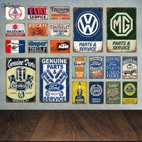 Metal Painting Classic Motor Car Sales Parts Service Vintage Signs Tin Poster Decorative Plates Wall Stickers Pub Bar Garage Decor YA042
