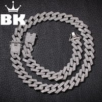 Neue Farbe 20mm Kubaner Link Ketten Halskette Mode Hiphop Schmuck 3 Row Strasssteine Euro Out Halsketten für Männer T200113