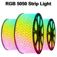 110V 220V Dimmable Led Strips 10M 20M 30M 40M 50M High Voltage SMD 5050 RGB Led Strips Lights Waterproof+IR Remote Control + Power Supply