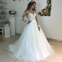 Other Wedding Dresses Illusion Scoop Neck Tulle Lace Appliqued Long Sleeve Sweep Train Robe De Mariee 2021 Bride Gown1
