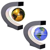 Novelty C Shape Night Lights LED World Map Floating Globe Magnetic Levitation Float Lead Light Antigravity Magic Indoor Lighting Birthday Home Dec Novel Lamps