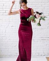 2021 Jewel Mermaid Evening Dresses Sleeveless Sexy Velvet Floor Length Prom Gowns