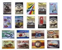 2021 Sinais de lata de metal vintage retro vespa Ônibus a motor indiano Musta ferro poster Esso Garage Gás gás barra rústica pub barra de parede decoração