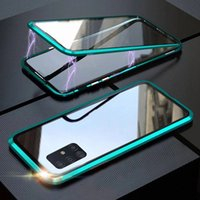 Double-sided Magnetic 360 Protect Case For Samsung A31 A51 A71 A21s A50 A70 S21 S20FE S9 S10 Note20 Tempered Glass Metal Cover