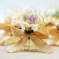 بسيط الذهبي الطيور قفص فريد المعادن قفص العصافير مربع الحلوى صناديق الزفاف الأحداث عيد الميلاد هدية عيد الحب