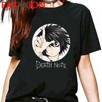 Japonés Anime Death Note Nota Gráfico Camiseta Hombres Harajuku Unisex Linda Tshirt Kawaii Divertido Dibujos Animados Fresco Camiseta Hip Hop Top Tee Tee Male X0621
