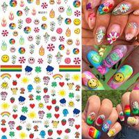 Adesivi per unghie Art Adesivi Astratto Astratto Viso Geometrico Design Adesivo Decorazioni per nail Art Decorazioni fai da te Fiori Sun Smiley Face Nail Decalcomanie