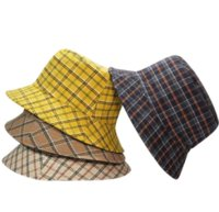 4styles Fashion Luxury Designer Wide Brim Bucket Hats High Quality Classic British Style Grid Pattern Casual Travel Sunshade Fisherman Hat for Men and Women