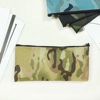 위장 연필 가방 간단한 휴대용 캔버스 화장품 가방 사무실 연구 편지지 저장실 케이스 19 * 9.5cm zze5177