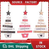 Christmas Tree Decorations Pendant New Year Dwarf Style Hanging Pendants DHL Free Wooden Trinket Trees Ornament Box Packaging Holiday Gift Painted Multi-color
