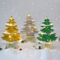 Christmas Decorations Mini Desktop Christmas Tree Ornaments Shiny 3D Pop-up Card With Lights Xmas Decoration CCA9125