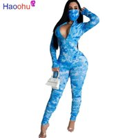 Women's Jumpsuits & Rompers HAOOHU Women Tie Dye Print Long Sleeve Zipper Up Skinny With Mask Stacked Jumpsuit Sexy Club Party One Piece Ove
