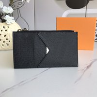 High Quality Card Wallet Fashion Designers Bags Brown Flower Print Leather Cards Holders Purse with Box