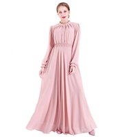 Чистое цветное шифоновое платье 2021 Мода Новые Женщины Расширение Вестидос Эластичные талии Мусульманские Длинные Платья