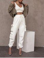 흰색 회색 갈색 바지 여성 겨울 세련된 포켓 코튼 하이 웨이스트 캐주얼 조깅 Black Streetwear 바지 2021 New