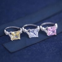 Cluster Rings SLJELY Fashion Real 925 Sterling Silver White Pink Yellow Shining Square Zircon Ring Women Wedding Party Fine Brand Jewelry Gi