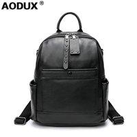 AODUX 2021 موضة جديدة 100٪ جلد البقر حقيقي الأجهزة السوداء النساء حقيبة الظهر سيدة حقيقي أعلى جلد البقر كتاب حقيبة نمط حقيبة