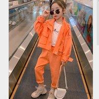 Mode Lässig Mädchen Kleidung Sets 2020 Herbst Mäntel + Hosen 2 stücke Kinder Taschen Anzüge Teenage Oberbekleidung 4-14 Vetement Bebe Fille Y1117