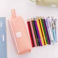 Hohe Kapazität Stifttasche Durable Pen Hülle mit Griff Tragbare Doppelschicht Schreibwaren Aufbewahrungstasche (6 Farben) MY-INF0645 114 S2