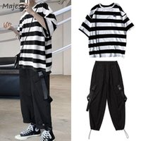 Men's Tracksuits Men Sets Striped Ankle-length Trousers Plus Size 3XL Summer Korean Hip-hop Chic Leisure Fashion Loose Safari-style Teens In