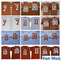 NCAA Texas Longhorns Futbol 11 Sam Ehlinger 7 Shane Buechele 10 Vince Genç 20 Earl Campbell 34 Ricky Williams Şeker Kase 150th Formalar