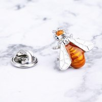 Pins, Brooches Novelty Enamel Bumble Bee Design Collar Pin Gold White Lapel For Women Girls Wedding Jewelry Festival Gift