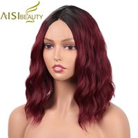 Synthetic Wigs AISI BEAUTY Ombre Red Short Water Wave For Women Middle Point Natural Hairline Heat Resistant False Hair