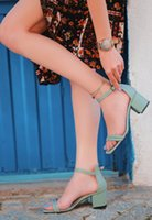 Dress Shoes BveA Store Women Fashion Casual Comfortable Daily Heels Heelless Strappy Buckled Faux Leather Esgax Green
