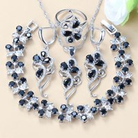 Earrings & Necklace Advanced Customization +Quality Costume Silver-Color Black Zircon Crystal Women Fashion Jewelry Sets Bracelet Ring Ea