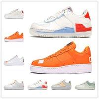 [Con scatola] 2021  Air Force 1 AF1 Low shoes Forze Uomo Donna Platform Shoes 1 Bassa ombra corallo rosa pallido avorio triplo Aurora Auro Aura Aura Skateboard Snoker Sneaker
