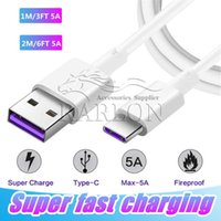 5A Super Fast Charging USB Fast Quick Charging 3FT 6FT Type C USB Data Sync Charger Cable for Samsung S8 S20 Note 10 LG Huawei Mate 30 Pro