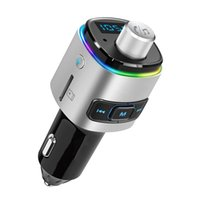 Bluetooth FM Transmitter MP3 Player, 7 Color LED Backlit Car Adapter with QC3.0 Charging, Support USB Flash Drive, microSD Card, Handsfree phone answer