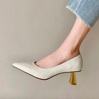 Zapatos de vestir tacón de oro tacón de estilete real cuero genuino tacones tacones de piel de oveja de piel de oveja fiesta de moda