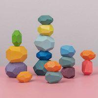 Nordic Style Baby Jenga Bâtiment Création Creative Jouets Éducatifs Créatifs Écoulement Jeux Arc-en-ciel Pierre En Bois Brique Blocs de briques