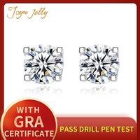 JOYCEJELLY CLASSIC 925 Sterling Silver Stub Orecchini per le donne 5mm D Color Mossanite Gemstone Gemstone Fine Gioielli Regali da sposa