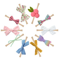 Baby Flower Nylon Headbands Leather Bows Floral Printed Hair...