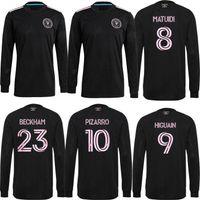 2021 Manga Intermagem de Intermagem Miami Fora Jerseys de Futebol Home Beckham Higuain 9 Matuidi Pizarro 10 Black 21 22 Jersey Camiseta LS