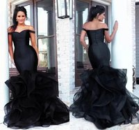 Amazing Black Plus size Evening Formal dresses Mermaid Off the shoulder with Cap Sleeves Open Back Ruffled Full Length African Designer Pageant Party Prom Dress