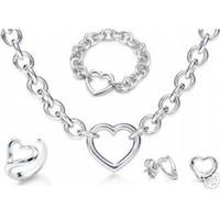 Designer Schmuck Heart Lock New Jewelry Sets 925 Sterling Silber Armband und Halskette Sets Mode Womens Schmuck Sets mit Kasten