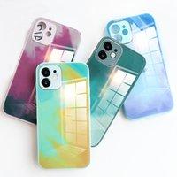 Casos de telefone de proteção da lente da câmera para o iPhone 12 11 Pro Xs Max XR 7 8 Plus Tampa traseira do vidro temperado da aguarela